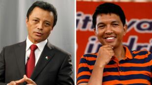 Marc Ravalomanana a la izquierda y Andry Rajoelina a la derecha. Archivo.