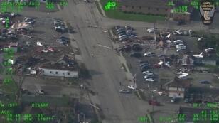 مبان متضررة بعد سلسلة من الأعاصير ضربت ولاية أوهايو الأمريكية، 28 مايو/أيار 2019.