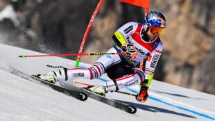 Alexis Pinturault lors de la 1re manche du slalom géant des Championnats du monde de ski alpin, à Cortina d'Ampezzo en Italie, le 19 février 2021