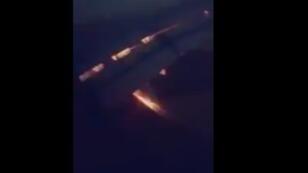 مشهد من احتراق طائرة المنتخب السعودي - صورة مقتطفة من فيديو نشره على تويتر  wld norah  @wldnorah