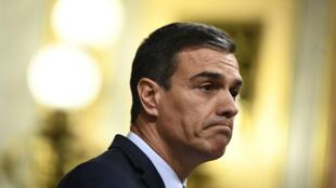 Pedro Sanchez s'exprime devant le Congrès espagnol à Madrid, le 25 juillet 2019.