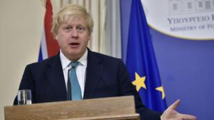 Boris Johnson, ministre britannique des Affaires étrangères lors d'une conférence de presse à Athènes, le 6 avril 2017.