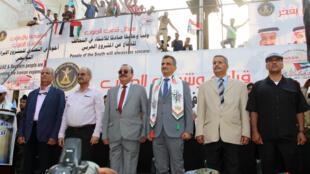 زعماء المجلس الجنوبي الانتقالي في اليمن خلال مشاركتهم في مظاهرة داعمة للإمارات العربية المتحدة في مدينة عدن جنوب اليمن. 5 سبتمبر/أيلول 2019.
