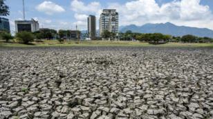 Vue du lac affecté par la sécheresse dans le Parc métropolitain La Sabana à San José, au Costa Rica, le 14 mai 2019.