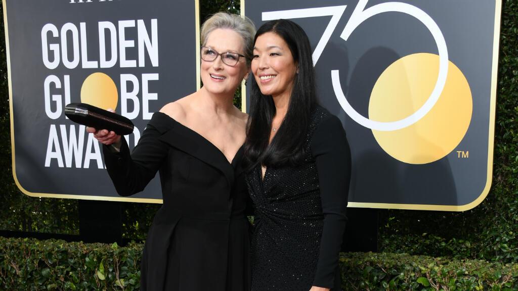 L'actrice Meryl Streep et la réalisatrice Ai-jen Poo lors de la cérémonie, le 7 janvier 2018.