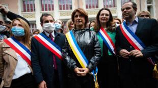 De gauche à droite, les LR Sabine Bernasconi, Julien Ravier, Martine Vassal, Valérie Boyer et Yves Moraine, le 12 juin 2020 à Marseille