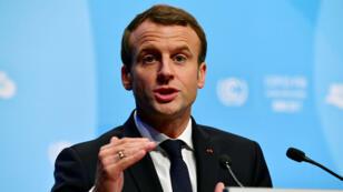Emmanuel Macron lors de son discours sur le climat, à l'occasion de la COP23, le 15 novembre 2017.