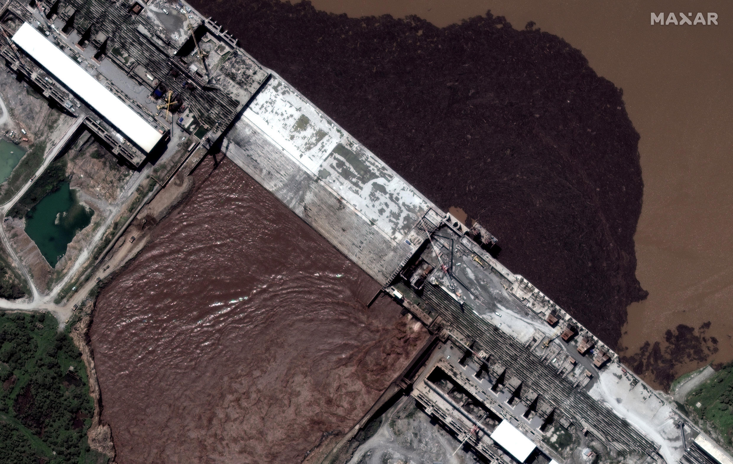 A handout satellite image shows a closeup view of the Grand Ethiopian Renaissance Dam (GERD) and the Blue Nile River in Ethiopia July 12, 2020.
