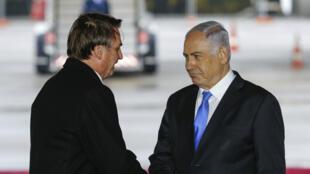 Le président du Brésil Jair Bolsonaro et le Premier ministre israélien Benjamin Netanyahou, à Tel Aviv, le 31mars2019.