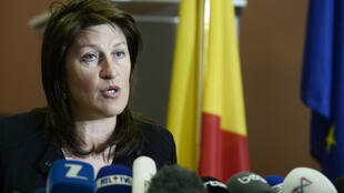 L'ex-ministre belge des Transports et de la Mobilité, Jacqueline Galant, vendredi 15 avril 2016, lors d'une conférence de presse à Bruxelles.