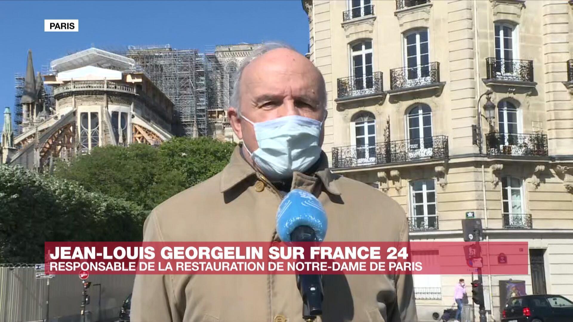 Le général Jean-Louis Georgelin, chargé de piloter la reconstruction de la cathédrale Notre-Dame de Paris, le 14 avril 2020, à Paris.