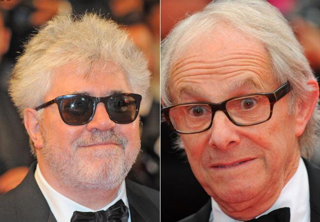 """Pedro Almodovar et Ken Loach lors de leur venue à Cannes en 2014. Le premier en tant que producteur des """"Nouveaux Sauvages"""", le second comme réalisateur de """"Jimmy's Hall""""."""