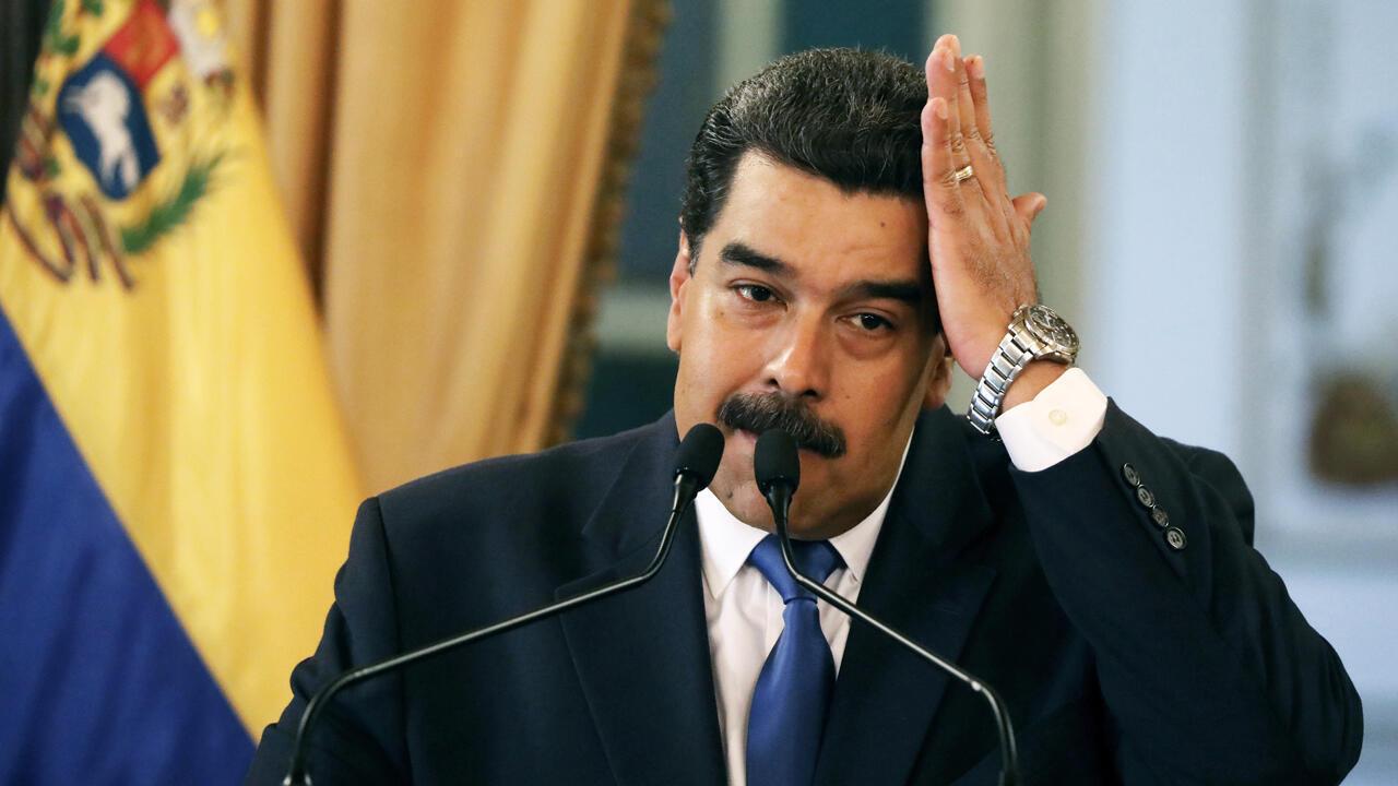l presidente de Venezuela, Nicolás Maduro, en una conferencia de prensa en Caracas, Venezuela, el 8 de febrero de 2019.