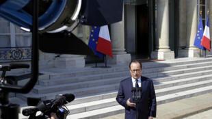 François Hollande lors d'une déclaration officielle à l'Élysée le 24 juillet 2014