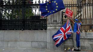 """Un manifestant tient une pancarte sur laquelle est écrit : """"Brexit, est-ce que ça vaut le coup ?"""" à Londres, le 11 septembre 2018."""
