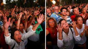 Réactions à Barcelone lors du discours de Carles Puigdemont, le 10 octobre 2017.