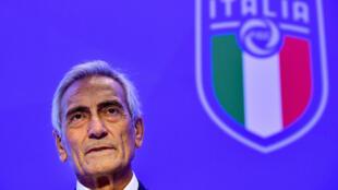 Le president de la fédération italienne de football (FIGC), Gabriele Gravina, le 22 Octobre 2018 à Rome.