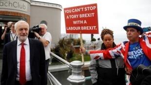 Le chef du parti travailliste britannique, Jeremy Corbyn, lors de la conférence annuelle du parti à Brighton, le 22 septembre 2019.