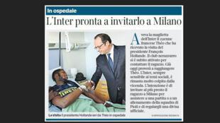 Le président François Hollande au chevet de Théo à l'Hôpital Robert-Ballanger.