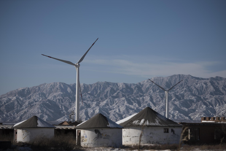 Une éolienne dans la ville de Guanting, à l'extérieur de Pékin.