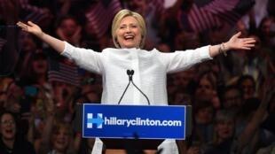 Hillary Clinton lors de son discours de victoire à Brooklyn, mardi 7 juin 2016.