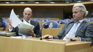 Joram van Klaveren, left, with Geert Wilders at the Dutch parliament in The Hague in 2013
