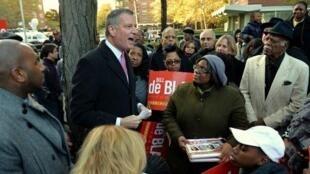 Le nouveau maire de New York, Bill de Blasio, lors de sa campagne