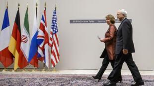 Catherine Ashton et Mohammad Javad Zarif le 24  novembre à Genève