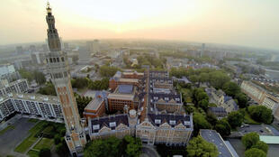 This aerial view taken early on June 8, 2013 shows Lille's town hall and its belfry.