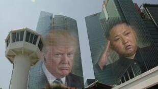صورة الرئيسين الأمريكي والكوري الشمالي.