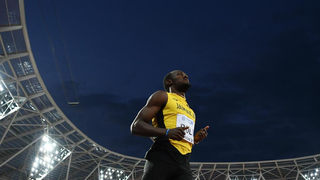 Usain Bolt lors des qualifications pour la finale du 100 m aux mondiaux d'athlétisme à Londres, le 4 août 2017.