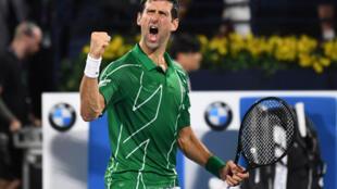 Novak Djokovic lors de sa victoire dans le tournoi de Dubaï, le 29 février 2020