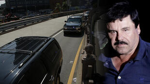 """La caravana que transporta al narcotraficante mexicano Joaquín """"El Chapo"""" Guzmán, el 14 de agosto de 2018, el Puente de Brooklyn, en Nueva York, EE.UU."""