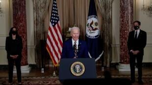 El presidente de Estados Unidos, Joe Biden, anunció una ampliación de la cuota anual de refugiados en un discurso desde el Departamento de Estado en Washington D. C. el 4 de febrero de 2021.