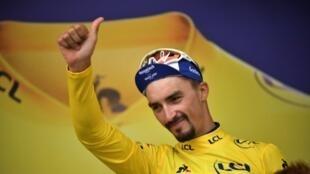 Le maillot jaune du Tour de France, Julian Alaphilippe, le 25 juillet 2019 à Valloire