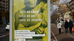 L'une des affiches de la campagne gouvernementale de prévention contre le sida.