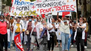 مظاهرات الطواقم الطبية في باريس. 30/06/2020