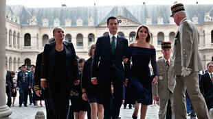 Mexican President Enrique Pena Nieto (CL), his wife Angelica Rivera, flanked by France's Justice Minister Christiane Taubira (L) visit the Hotel National des Invalides in Paris, on July 13, 2015.