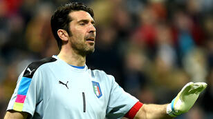 """Gigi"" Buffon,  la légende du football italien, dispute à 38 ans son 9e tournoi international."