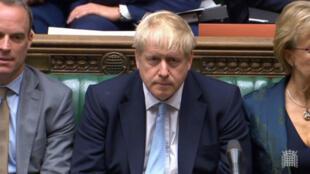 Captura de pantalla que muestra al primer ministro, Boris Johnson, en una sesión del Parlamento británico. Londres, Reino Unido, el 3 de octubre de 2019.