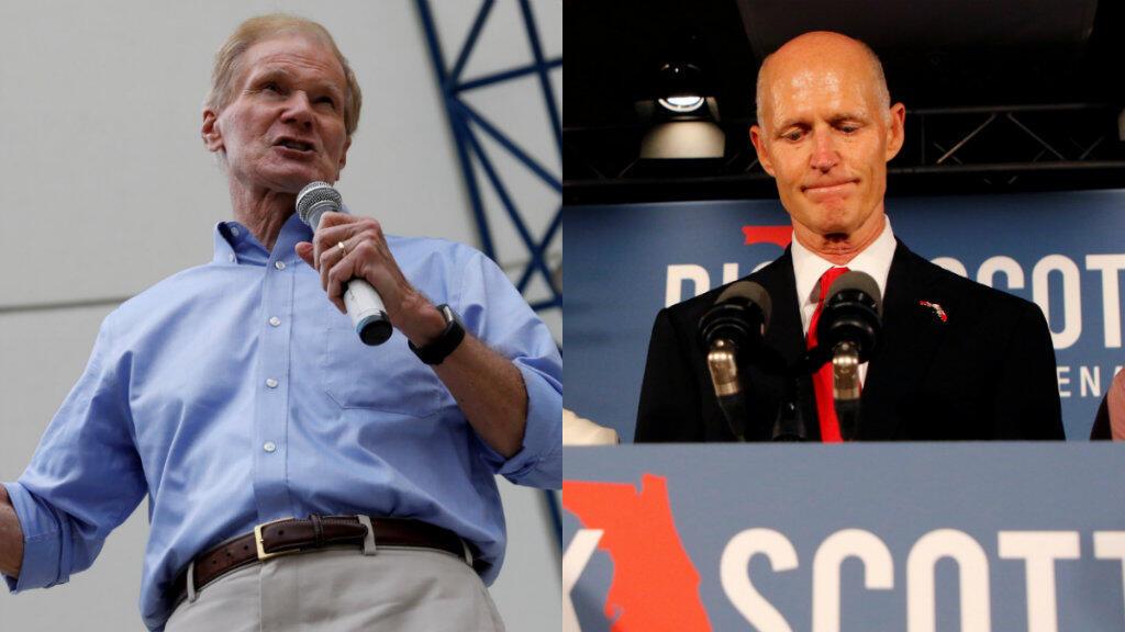 El senador demócrata Bill Nelson, izquierda, aspira a la reelección, pero los resultados parciales dicen que el republicano Rick Scott lo aventaja con una diferencia del 0,15% de los votos.