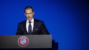 Le président de l'UEFA,  Aleksander Ceferin, lors du congrès de l'instance à Amsterdam, le 3 mars 2020