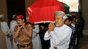 Oman's newly sworn-in Sultan Haitham bin Tariq al-Said carries the coffin of his cousin, the late Sultan Qaboos bin Said, during the funeral in Muscat, Oman on January 11, 2020.