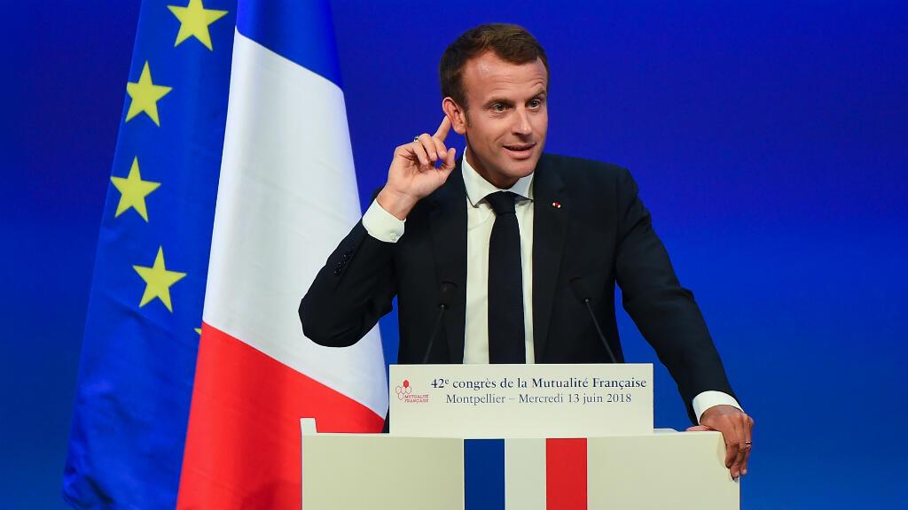 Emmanuel Macron, mercredi 13 juin 2018, au 42e congrès de la Mutualité française à Montpellier.