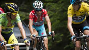 Contador, Nibali et Froome (de g. à d.), à la lutte lors de l'édition 2014 du Dauphiné Libéré.
