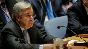 El secretario general de las Naciones Unidas, António Guterres, habla durante la reunión del Consejo de Seguridad de las Naciones Unidas sobre Siria en la sede de la ONU en Nueva York, EE. UU., el 13 de abril de 2018.