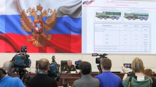 Conferencia de prensa de oficiales rusos sobre el misil 9M729 en Moscú. 23 de enero de 2019.