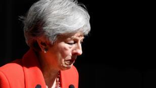 La primera ministra Theresa May al final de la declaración en la que anunció su renuncia el 24 de mayo de 2019 en Londres, Reino Unido.