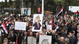 مسيرات في حلب للتنديد بقرار واشنطن الاعتراف بسيادة إسرائيل على مرتفعات الجولان في 26 مارس/آذار 2019