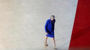 La primera ministra británica Theresa May a su llegada a la sesión extraordinaria del Consejo Europeo en Bruselas, Bélgica, el 10 de abril de 2019.